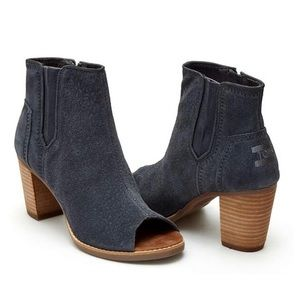 TOMS Majorca Floral Embossed Gray Peep-Toe Bootie